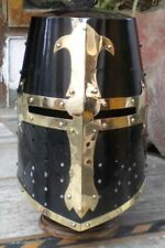 MEDIEVAL KNIGHT CRUSADER ARMOUR HELMET W/H BLACK