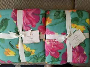 NWT New Pottery Barn WHITLEY Shams Turquoise Floral/Orange Ikat Standard/Queen