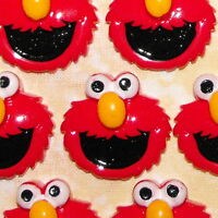 6 x Elmo Kawaii Flatback Kids Sesame Street Resin Party Cake Toppers Decoration