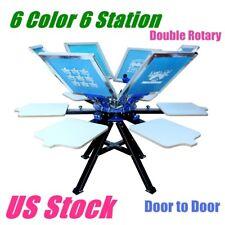 Usa 6 Color 6 Station Silk Screen Printing Machine Printer Press Equipment