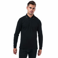 Mens Ben Sherman Ls Pique Polo Shirt In Black- Long Sleeve- 3 Button Placket-
