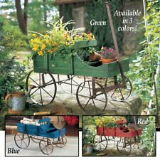 Amish Wagon Decorative Indoor Outdoor Garden Backyard Planter Red, Blue or Green