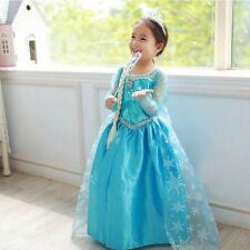 Brand New Elsa Dress Girl Princess Children Dresses Disney Costume Party CB7B UK