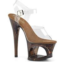 Pleaser MOON-708GFT Women Clear Bronze Heels Butterfly Glitter Platform Sandals