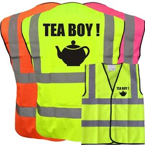TEA BOY FUNNY YELLOW HI VIZ VIS WAISTCOAT VEST SAFETY WORKWEAR STAG PARTY