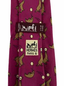 """Hermes Men's Fuchsia Seals Juggling Balls Silk Tie Neiman Marcus 7293 EA 3 3/8"""""""