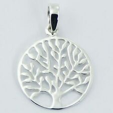Sterling Silver Pendant 18mm Tree of Life Nature Mother Earth Genuine 925