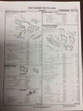 1971 1972 Oldsmobile Toronado crash sheets with part numbers