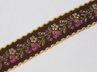 brown with yellow moon stitch trim  vintage jacquard woven ribbon 25mm R009