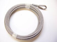 "1/4"" x 50 ft Stainless Steel Winch Cable, SS Thimble & ZP Copper Sleeve Eye"