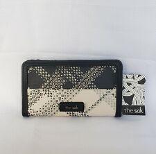 THE SAK Women's Iris Slim Wallet Black Gray and Cream MSRP $69 BNWT