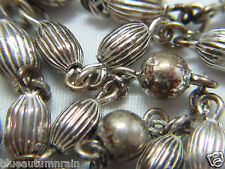† VINTAGE SIGNED STERLING RIDGED OVAL MATER BEADED ROSARY WEARABLE 22.60 GRAMS †