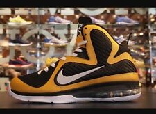 Zapatos de baloncesto Nike Lebron James 9, tamaño de Reino Unido 8, taxi negro y oro, ID Raro