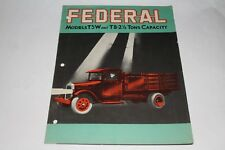 1929 Federal Trucks, 2 1/2 Ton Factory Brochure, Dump, Tankers,  Original