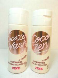 Lot set of 2 Victoria's Secret PINK Coco Zen CocoZen Wash Gel & Body Lotion 3oz