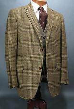 Vtg JULLIARD Tweed Sack Sport Coat 40S Brown Plaid 3/2 Roll Canvassed Ivy League