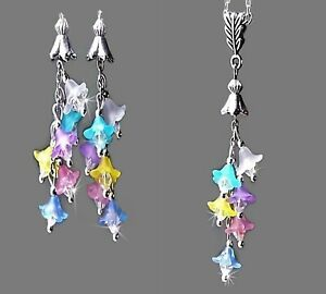 Necklace and earrings set, Pastel Rainbow lucite lily flower cascade tassel drop