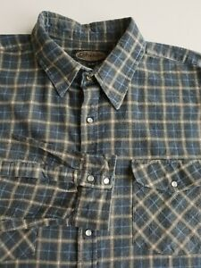 Pro Action Slim Fit Plaid Flannel Shirt Snap Fasten Dark Check Grunge *XL* TR72