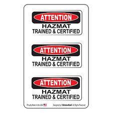 "Attention Hazmat Trained & Cert (3 Pack)-(size: 2"" x 1"") HardHat Printed Sticker"