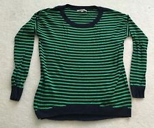 GAP wool blend crew neck sweater loose fit stripes blue/green size XS