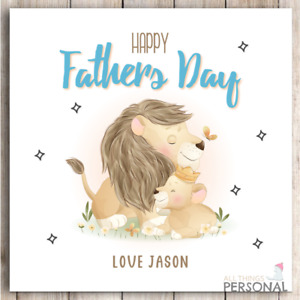 Fathers Day Card for Dad Daddy Personalised Lion Father's Day Card My King Blue