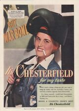 """1953 Woman Riveter Smoking photo """"Mild & Cool"""" Chesterfield Cigarettes print ad"""