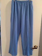 Women's polyester elastic waist pants, light blue, size 14