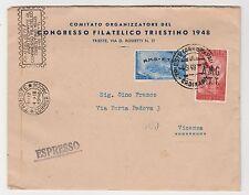 """STORIA POSTALE 1948 TRIESTE """"A"""" L.20+30 SU BUSTA EX TRIESTE 4/9 Z/6582"""