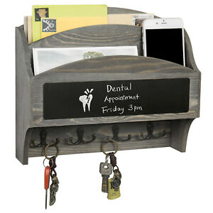 MyGift 2 Slot Vintage Gray Wood Wall Mail Rack with Chalkboard and 8 Key Hooks