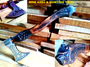 MDM SPECIAL CUSTOM HAND ENGRAVED VIKING COMBAT AXE BLADE LION FACE ENGR VIKING X