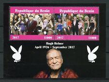 Benin 2017 CTO Hugh Hefner Playboy Bunnies Pin-Ups 2v M/S Celebrities Stamps