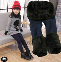 Kids Thick Pencil Pants Girls Child Velvet Lined Leggings Trousers Winter Warm