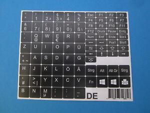Tastaturaufkleber für Notebook Deutsch schwarz matt für 89 Tasten DE QWERTZ PÜÖÄ