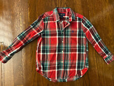 Boys Ralph Lauren Plaid Button Down Shirt, Red, Green and White, Size 5