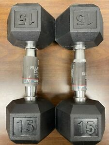 NEW 15lb Dumbbells Weider Rubber Coated Hex Pair -TOTAL 30LBS