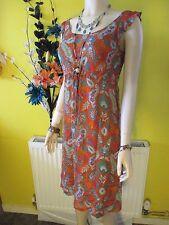 DIANE VON FURSTENBERG RED FLORAL SHEER SILK DRESS SIZE UK 8-10 US 4