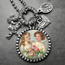Sweet Little Angels Picture Pendant Holy Medal & Multi Charm Necklace