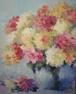 Gemälde  Blumen Spachteltechnik Öl  Leinwand 50x40 Impressionismus signiert.