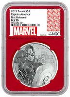 2019 Tuvalu Captain America 1 oz Silver Marvel NGC MS70 FR Red Core SKU56989