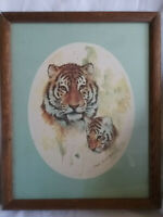 "Vintage TIGER & CUB Oval Art Print in Heavy 15"" x 12"" Wood Frame"