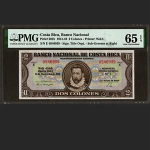 Banco Nacional de Costa Rica 2 Colones November 1941 PMG 65 EPQ GEM UNC P-201b