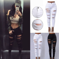Women Pencil Casual Denim Skinny Jeans Pants High Waist Slim Jeans Trousers