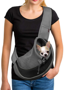 Yudodo Pet Dog Sling Black Breathable Mesh Travel Safe Sling Bag Carrier