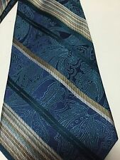 Concepts by Claiborne 100% Silk Neck Tie Paisley Striped Silver Gold Blue -1631