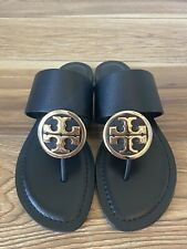 Tory Burch Benton Band Flat Sandals Black Leather Sz 7.5 NEW BOX Free Shipping