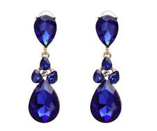 Royal blue teardrop beaded Elegant Earrings Great For Prom Spring Formal