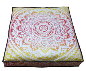 """Indian Handmade Cotton Pouf Cover Seating Square Cover Meditation 35""""X35"""" Inches"""