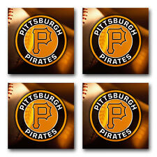 Pittsburgh Pirates Baseball Rubber Square Coaster set (4 pack) SRC2021