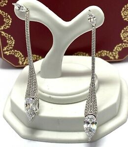 2.15ct Diamonique Diamond.925 Sterling Silver Long Dangle Earrings