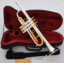 Professional Silver Gold Plated Heavy Trumpet Horn import Monel Valve New Case